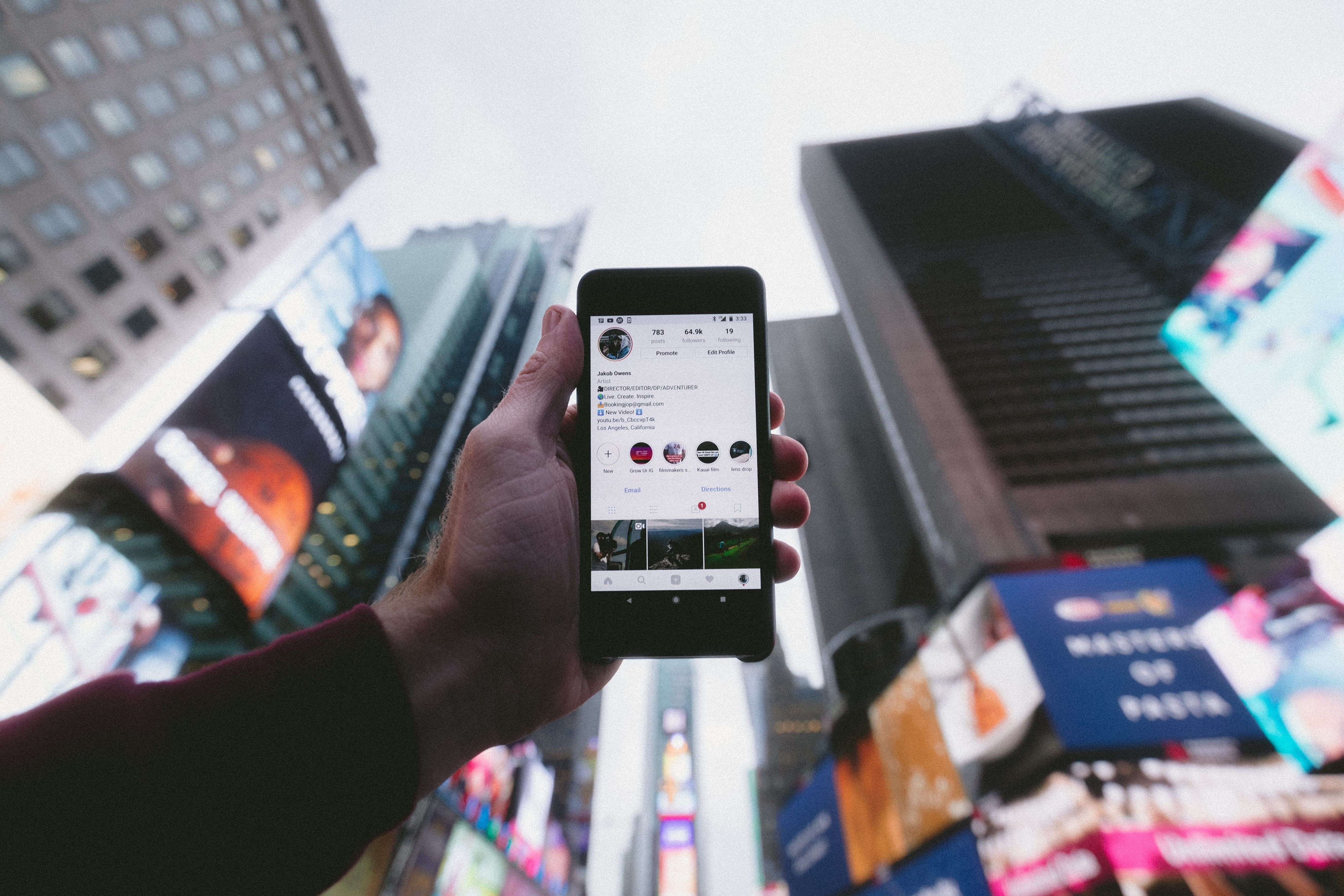 Movil con red social en times square